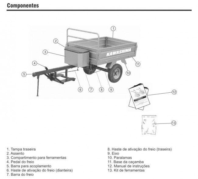 Motocultivador Micro Trator Tobata Tratorito Mcg780 Com Carreta TC300-B Kawashima