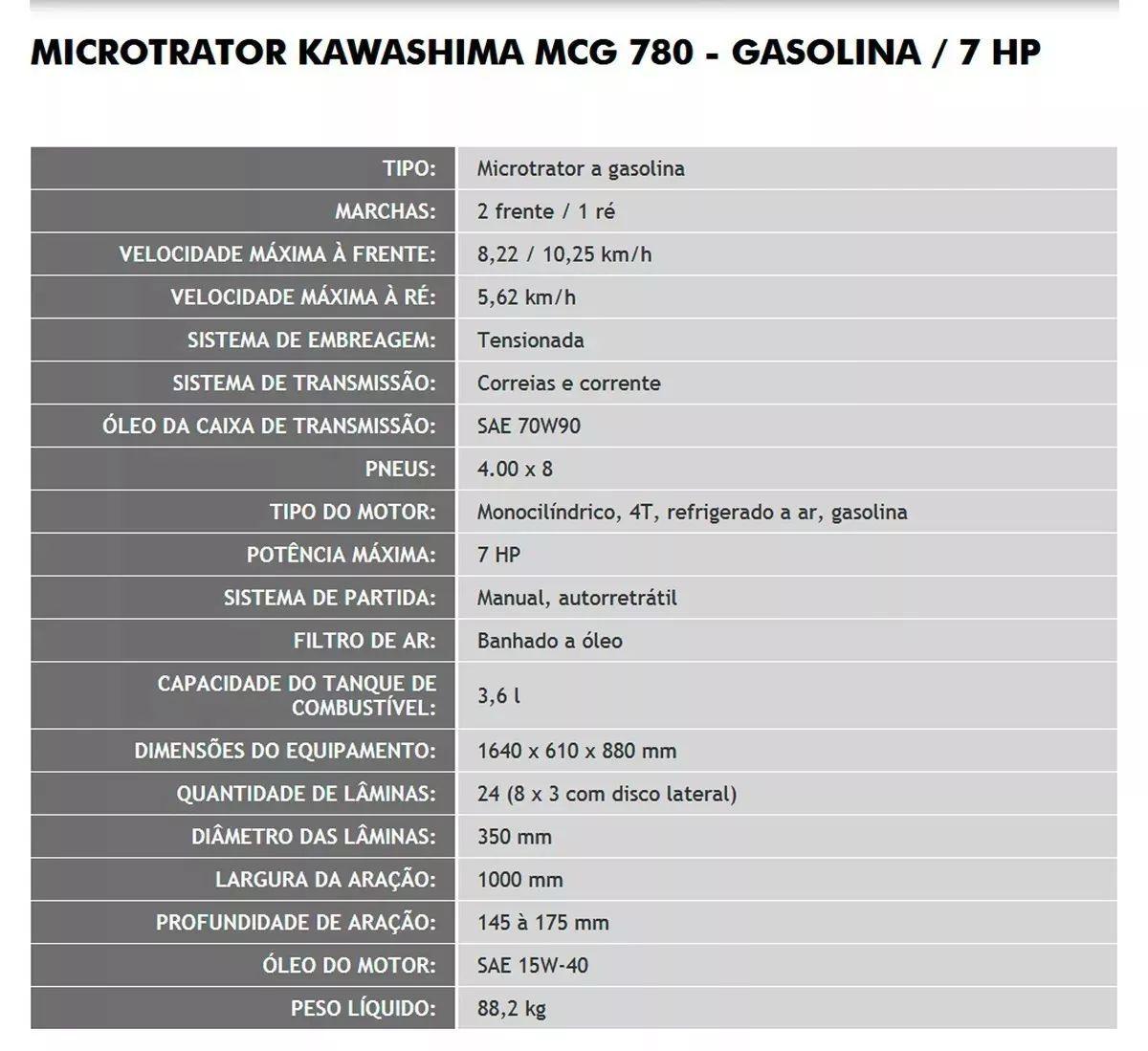 Motocultivador Tobata Micro Trator 7hp Mcg780 Kawashima