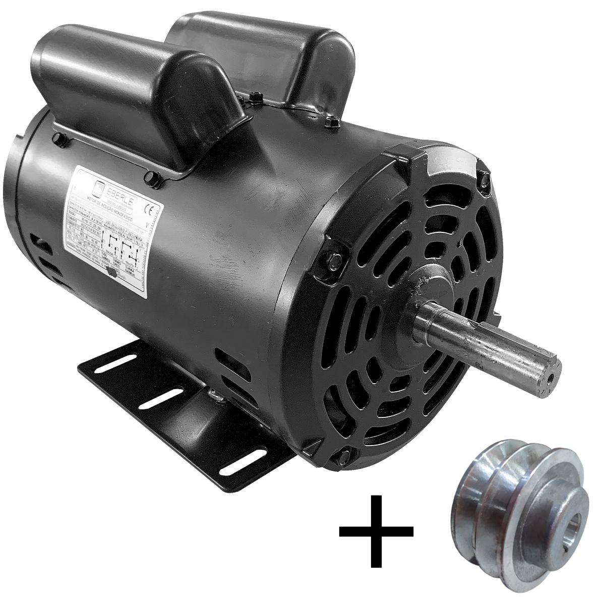 Motor Elétrico 2cv Monofásico Alta Rotação 110/220V Eberle Com Polia