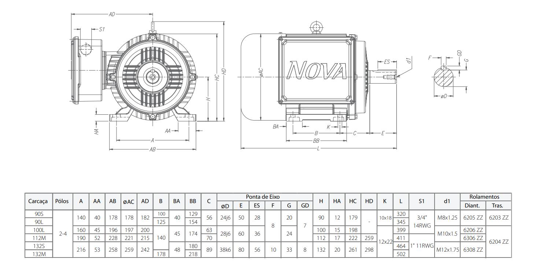 Motor Elétrico Blindado 7,5cv 4polo Monofasico Baixa Rotação Chave