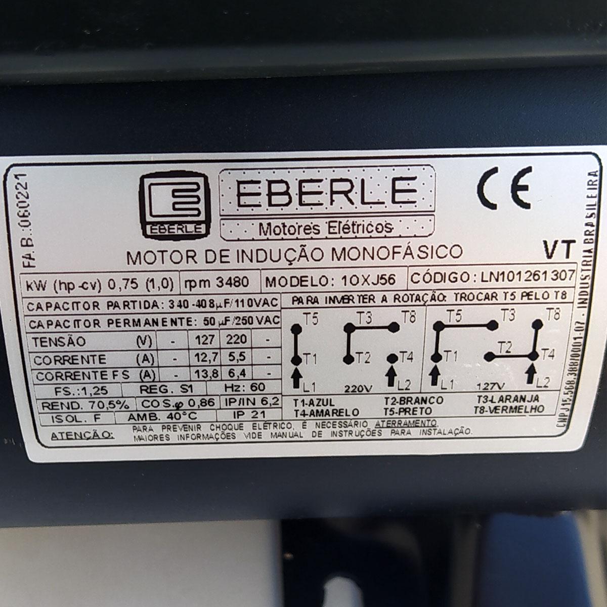 Motor Elétrico Monofásico 1cv 2 Polos 110/220v Alta Rotação Eberle