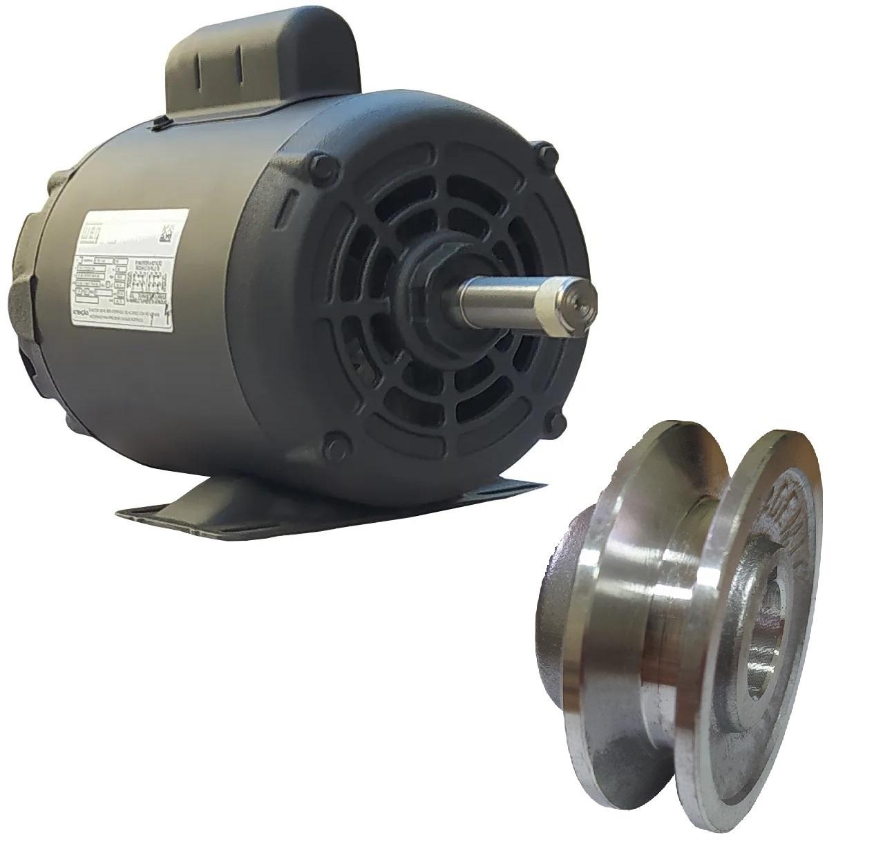 Motor Elétrico Monofásico 1cv 4 Polos 110/220 Baixa Rotação Weg Betoneira Com Polia 1 Canal A