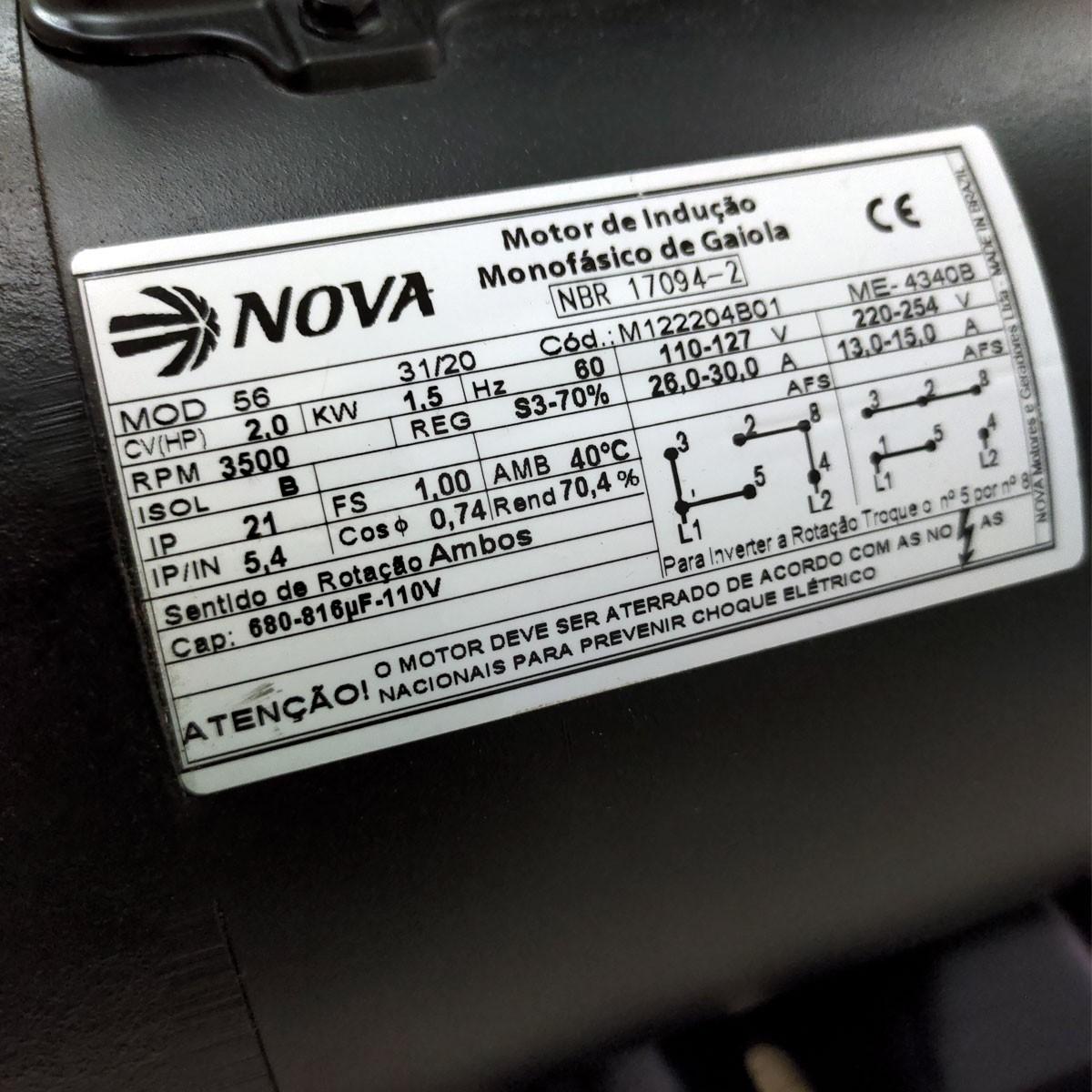 Motor Elétrico Monofásico 2cv 2polos 110/220v Alta Rotação