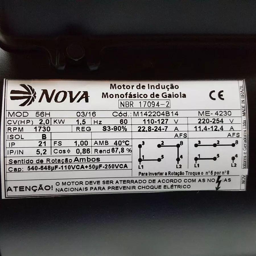 Motor Elétrico Monofásico 2cv 4polos 110/220 Betoneira Polia