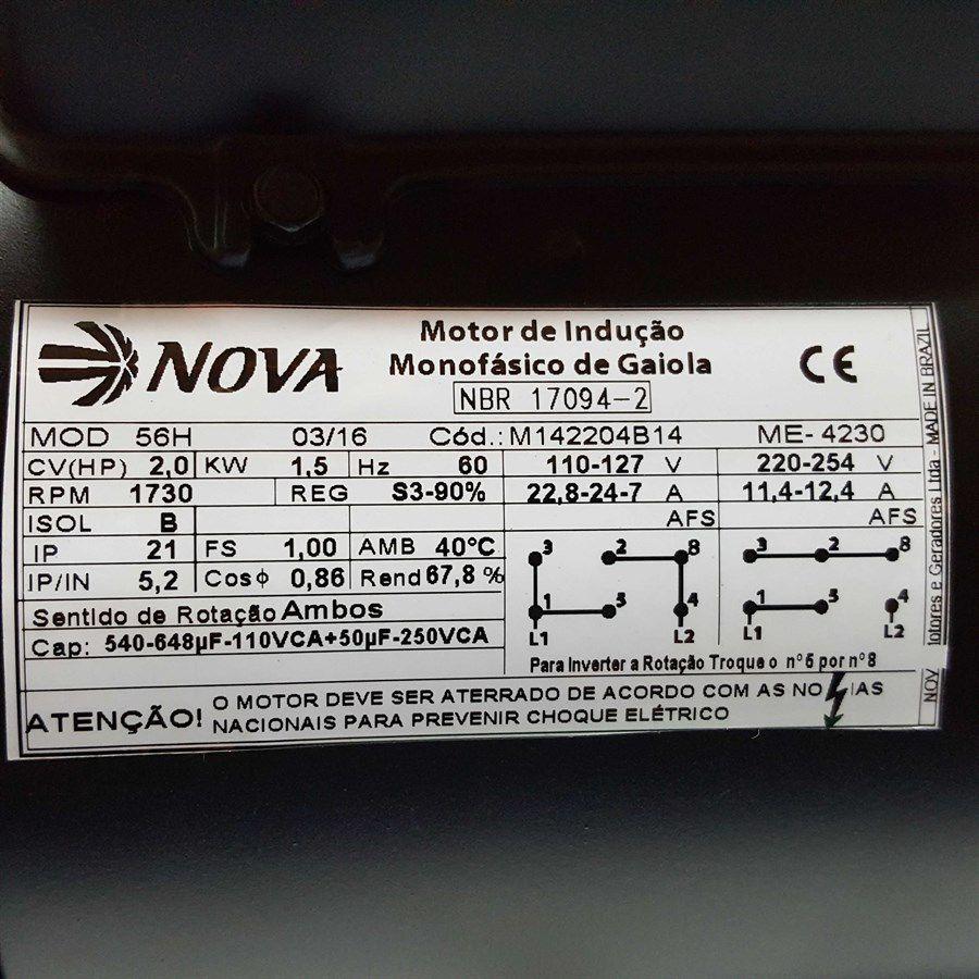 Motor Elétrico Monofásico 2cv Baixa Rotação 110/220 C/ Polia Para Bomba Pistão S-22 Kawashima