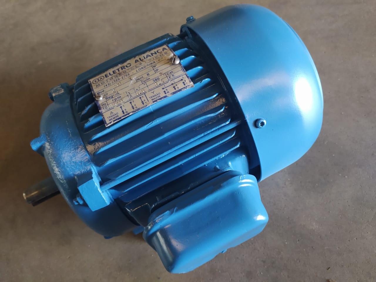 Motor Elétrico Eberle 2cv Cavalos 2 Polos 3500 Rpm Usado Voltagem 220/380 Trifásico IP55 Blindado