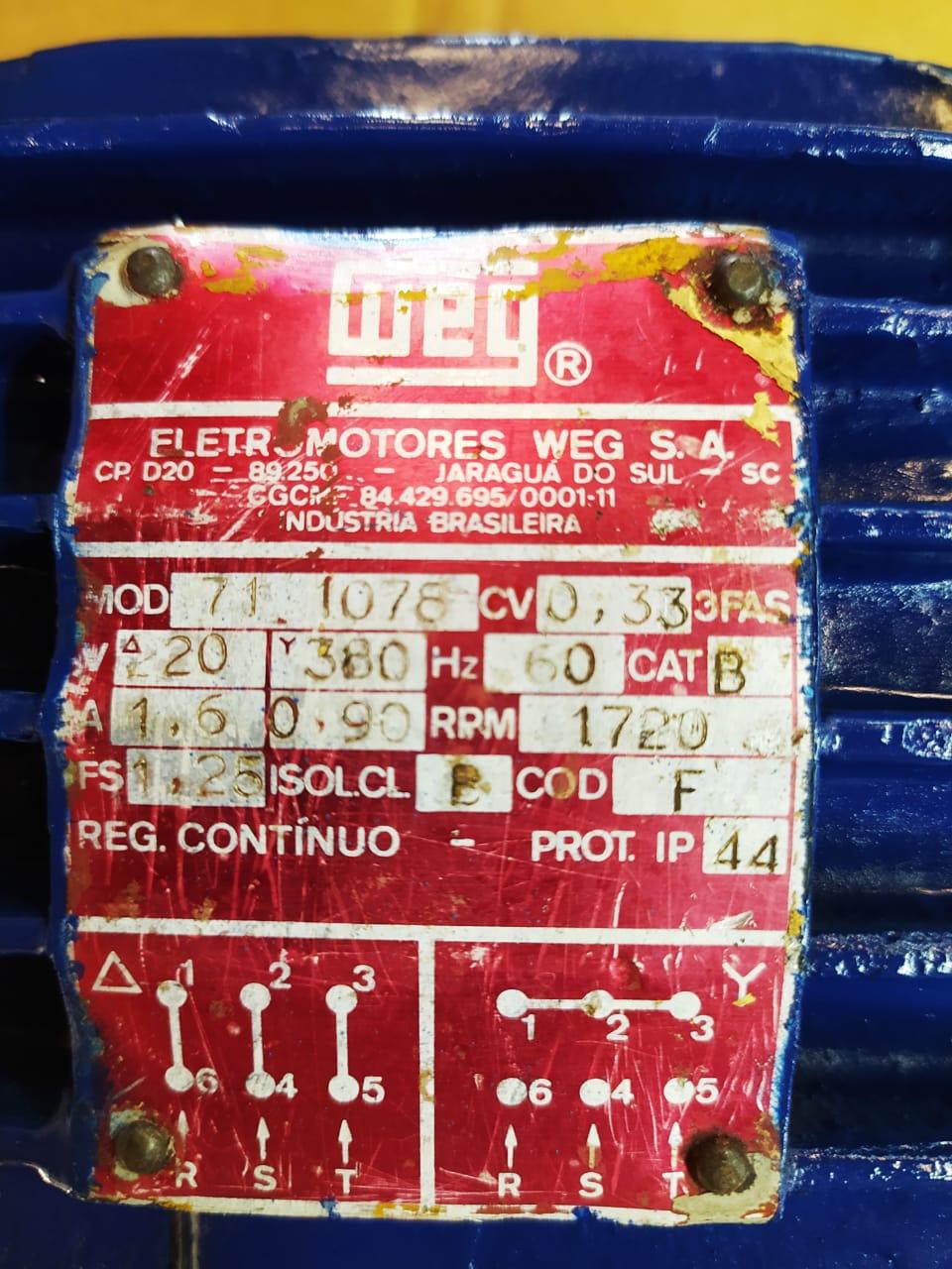 Motor Weg Trifásico 0.33CV 0.25KW 4 Polos 1740Rpm Blindado 220V 380V Usado