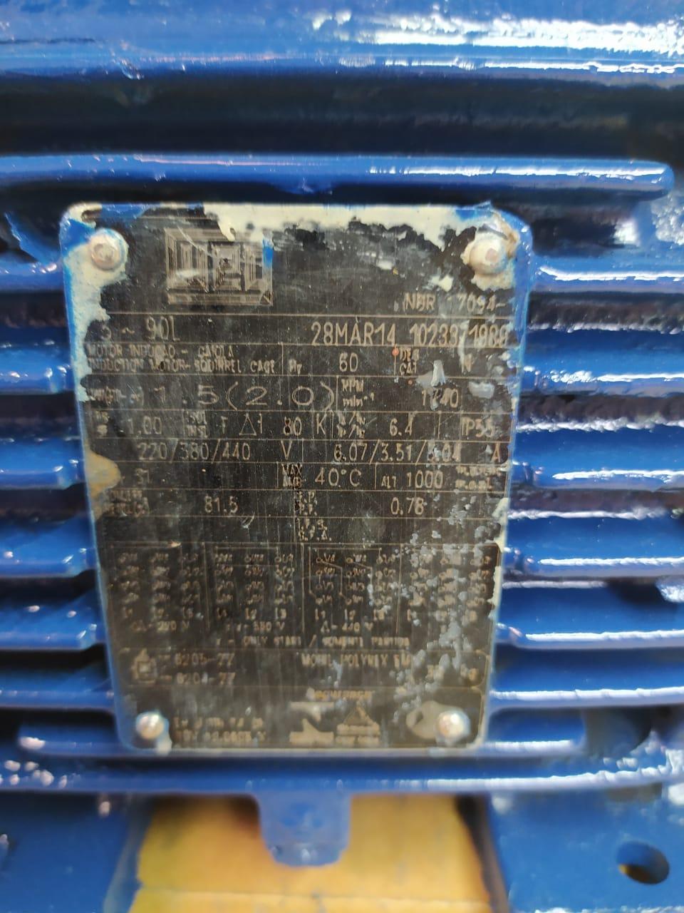 Motor Weg Trifásico 2CV 4 Polos Flange 90 B14 C Din Blindado Prova de Explosão 220/380/440V Usado