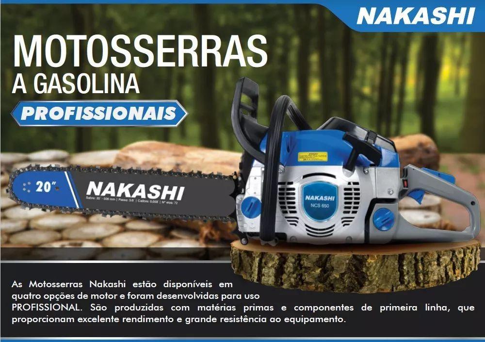 Motoserra Gasolina Profissional 54,6cc 20  Ncs 550 Nakashi