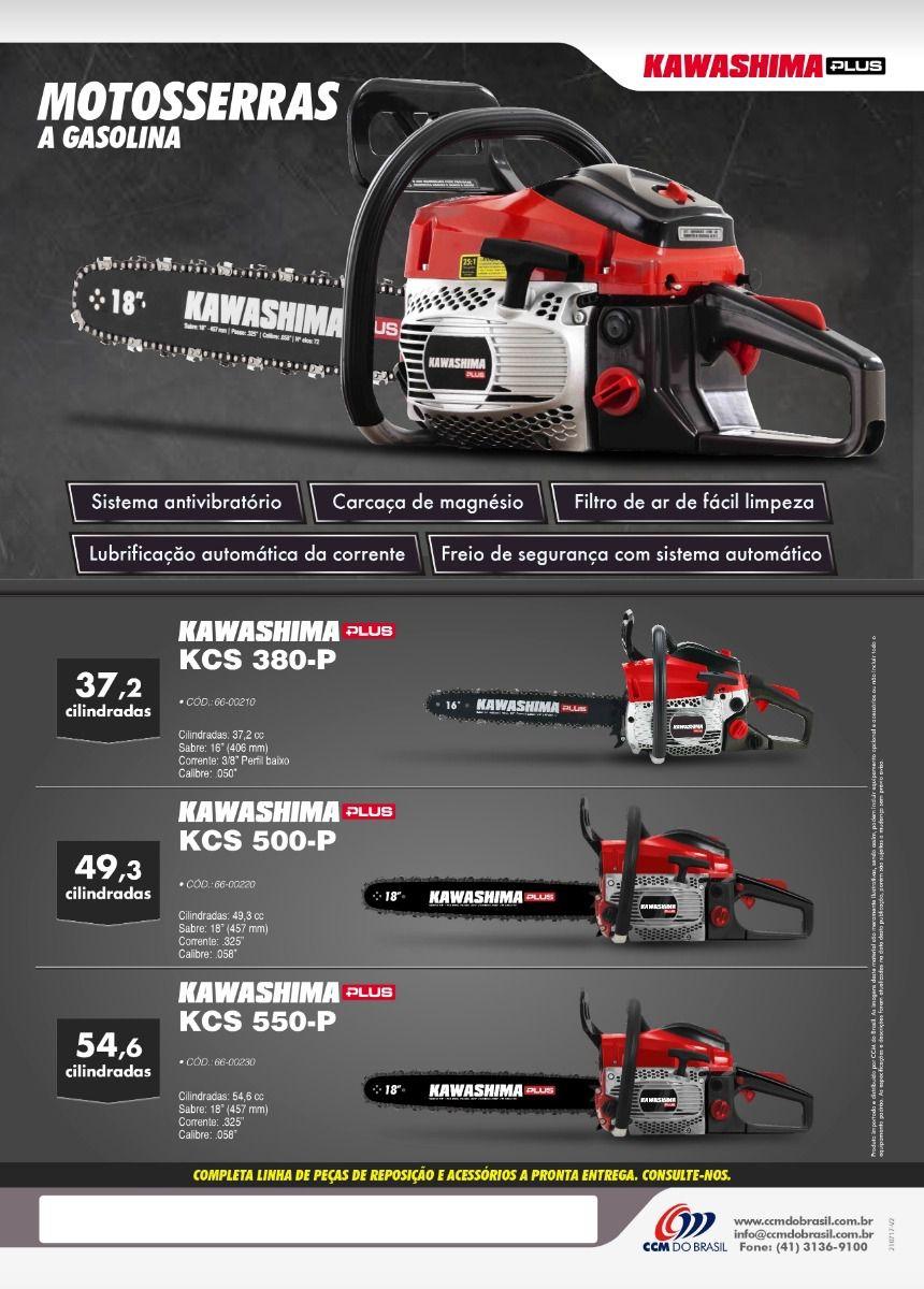 MotoSerra Gasolina 54,6 Cc Kawashima Plus Kcs 550p Sabre 18 Polegadas