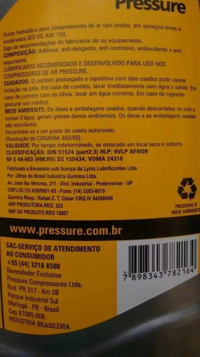 Óleo Para Compressor Aw 150 Pressure 6 Litros