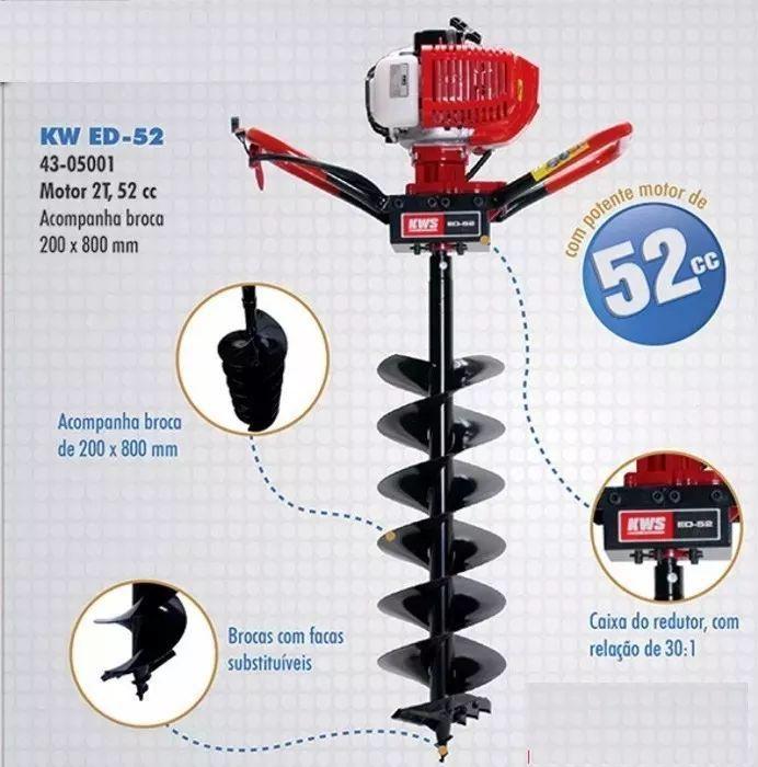 Perfurador de Solo Kawashima 52cc 2 Broca 20/30 X80cm 3 Ext 80cm