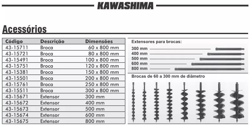 Perfurador Solo A Gasolina Kawashima 52cc C/ Broca 30x80cm