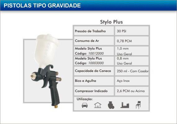 Pistola Para Pintura Gravidade 250ml Arprex Stylo Plus Bico 1mm Nacional