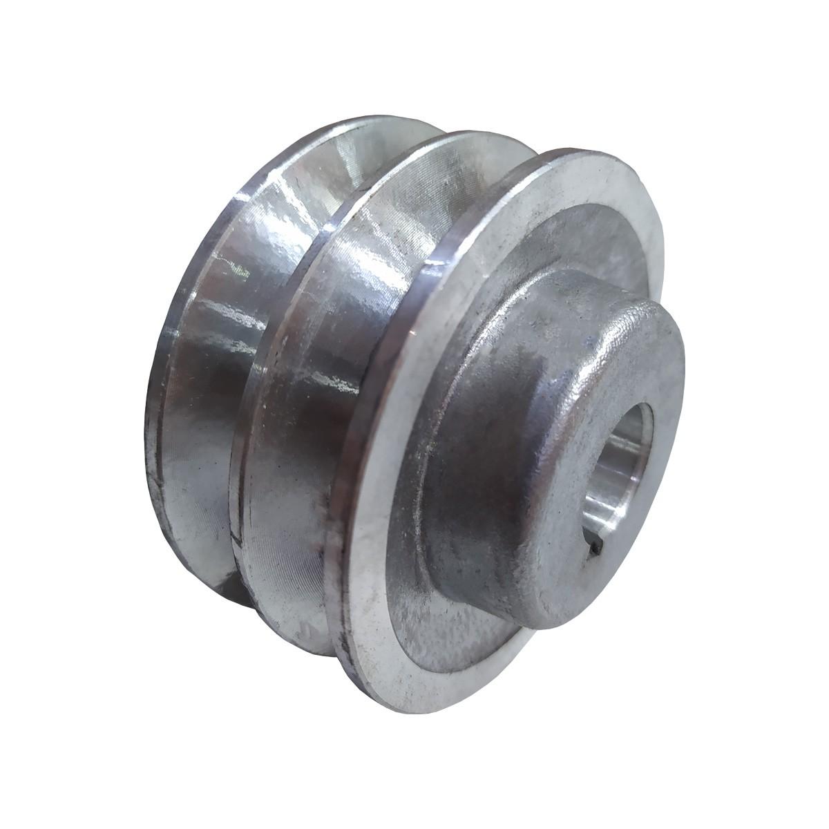 Polia De Aluminio 100mm Motor Furo 28mm 2 Canal A Chaveta