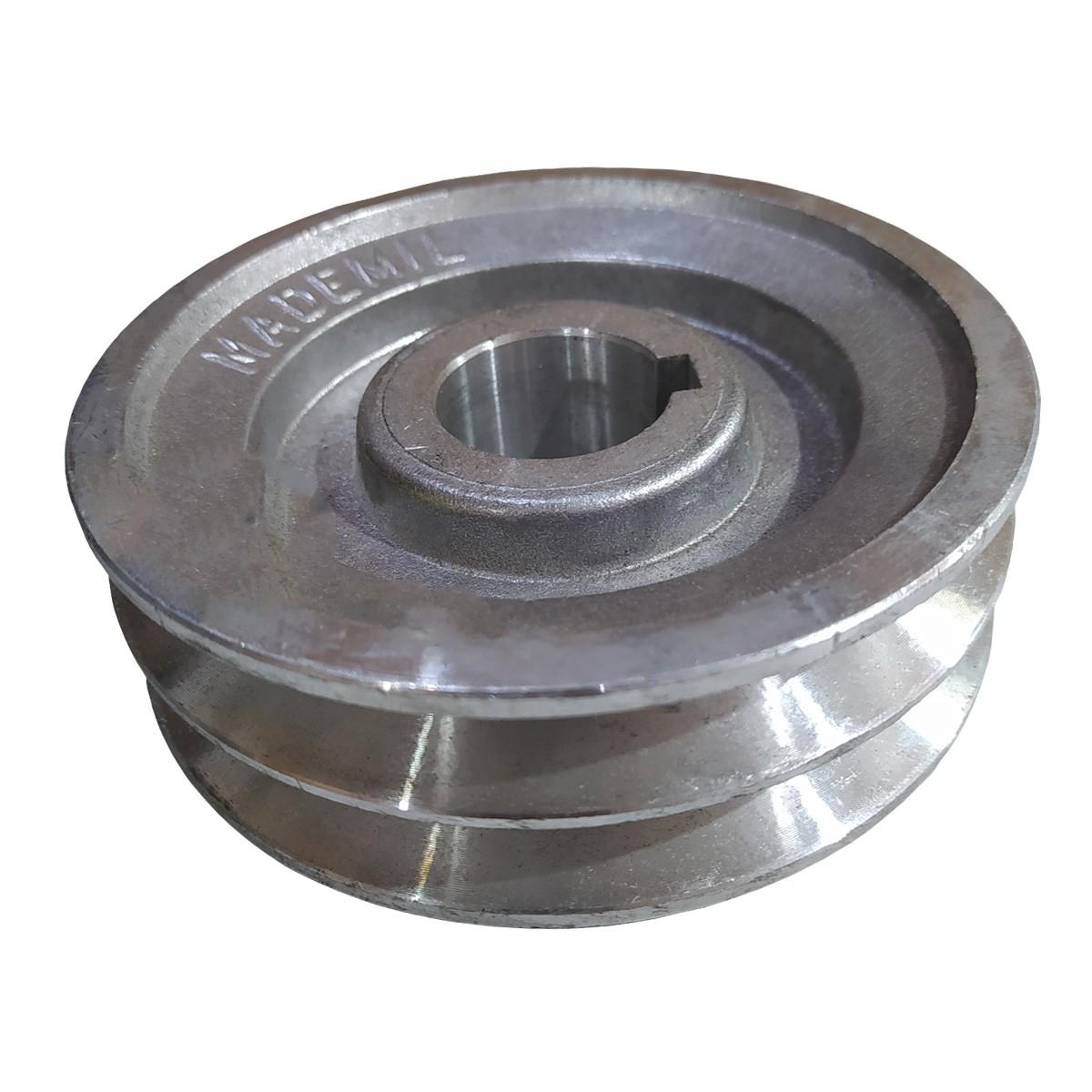 Polia De Aluminio 130mm Motor Furo 28mm 2 Canal A Chaveta