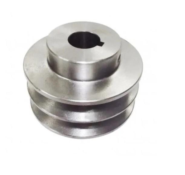 "Polia De Aluminio 90mm Furo 3/4"" 19mm 2 Canal A Chaveta"