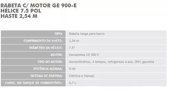 Rabeta Longa Com Motor Kawashima Ge900e 9hp Partida Elétrica