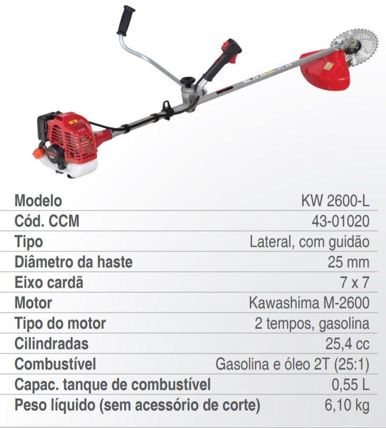 Roçadeira Lateral 2 Tempos 25.4cc Premium Kw 2600-L Kawashima