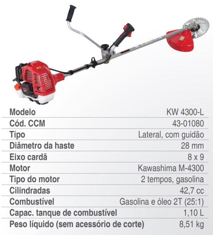 Roçadeira Lateral 2 Tempos 42.7cc Premium Kw 4300-l Kawashima