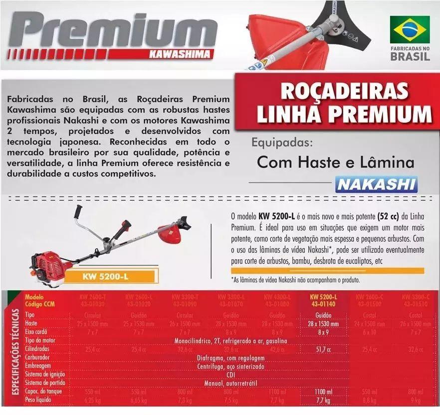 Roçadeira Lateral Gasolina 2t 52cc Kawashima Premium Kw5200