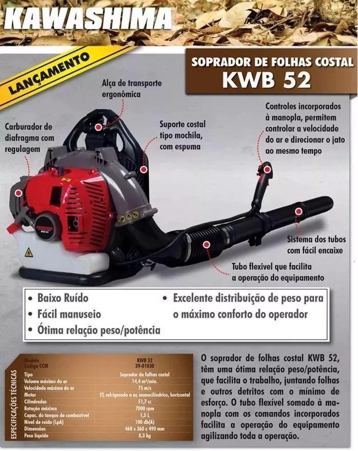 Soprador De Folhas Costal A Gasolina 51,7cc Kwb52- Kawashima