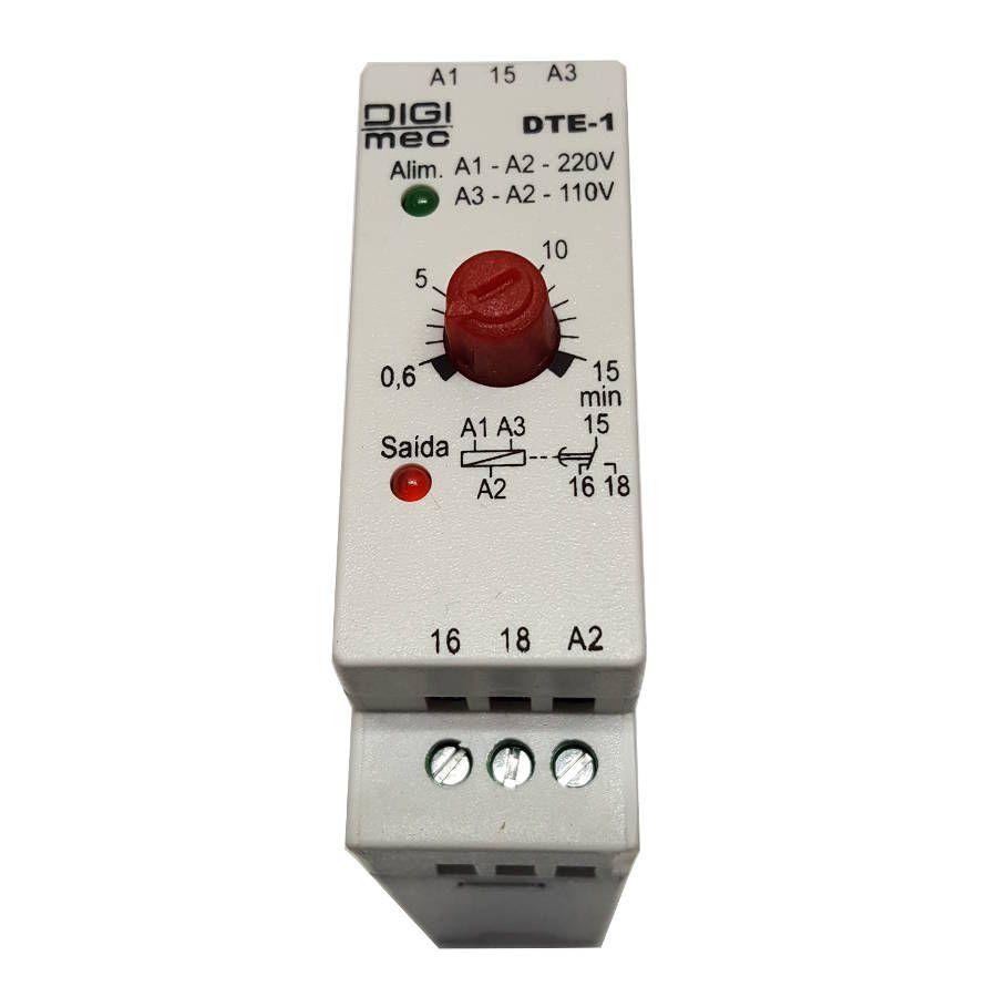 Temporizador Rele De Tempo Dte-1 Digimec 15 Minutos 24/220 vcc/vca