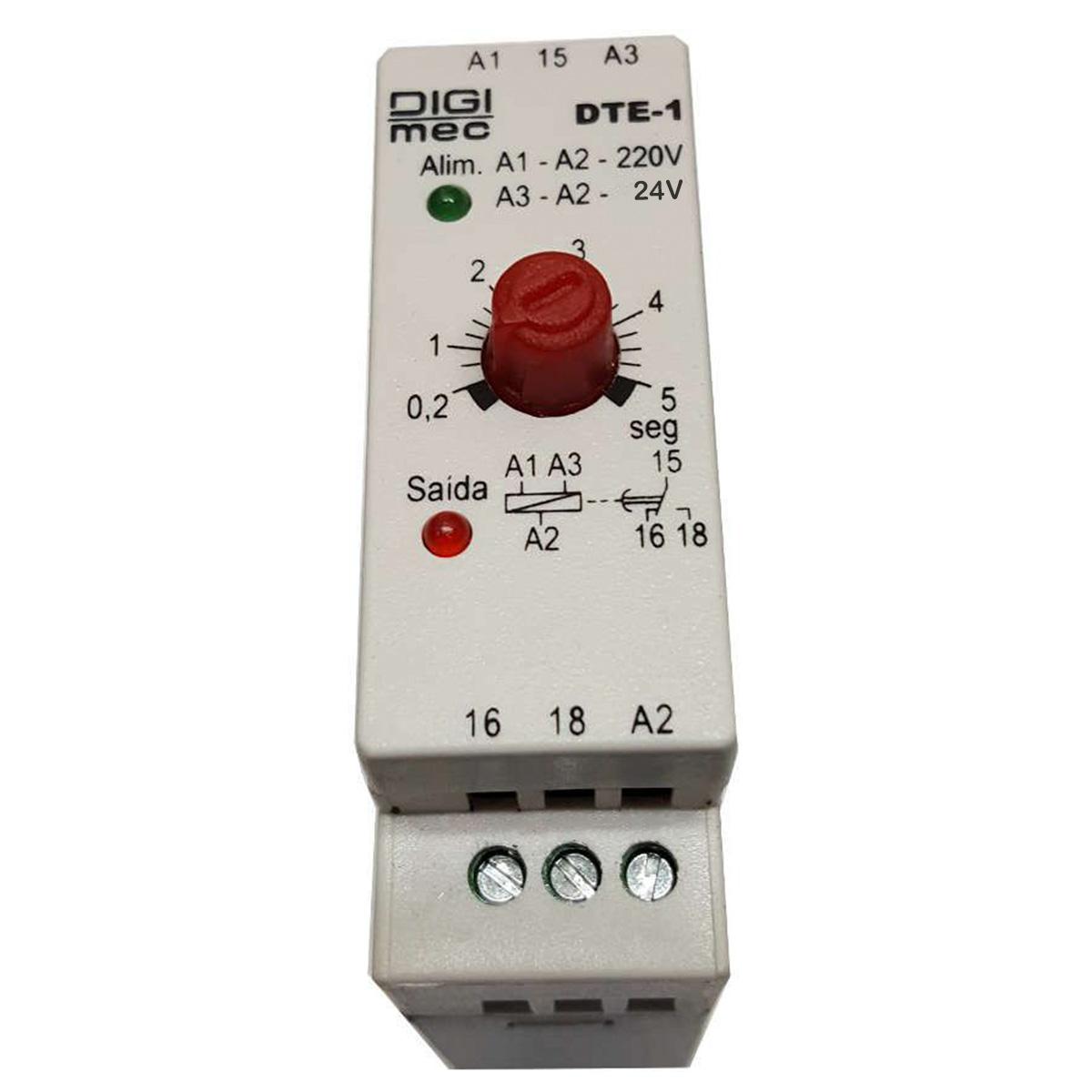 Temporizador Rele De Tempo Dte-1 Digimec 5 Segundos 24/220V