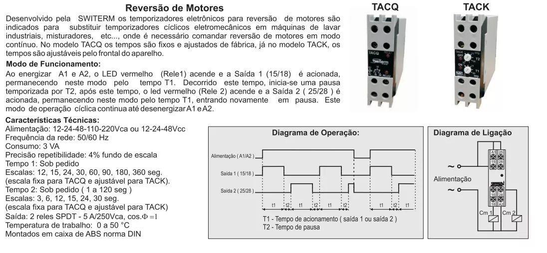 Temporizador Reversão Maquina Lavar Cíclico 15 / 5 / 15 220v