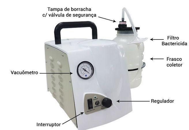 1001VF - Bomba Vácuo Aspiradora Sugador de Sangue e Secreção Portátil - Nevoni