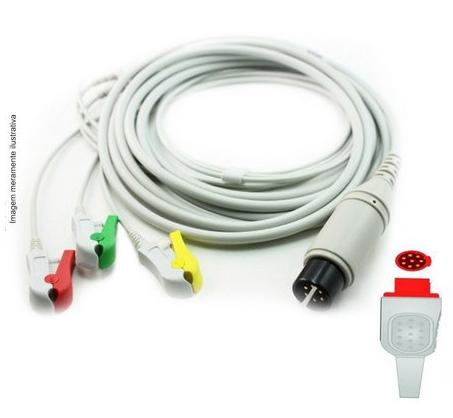 Cabo Paciente 3 Vias Compatível com BIONET Tipo Neo Pinch Encaixe EPX-C307-N - Vepex