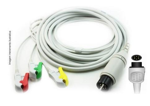 Cabo Paciente 3 Vias Compatível com PHYSIO CONTROL Tipo Garra Solda - Vepex