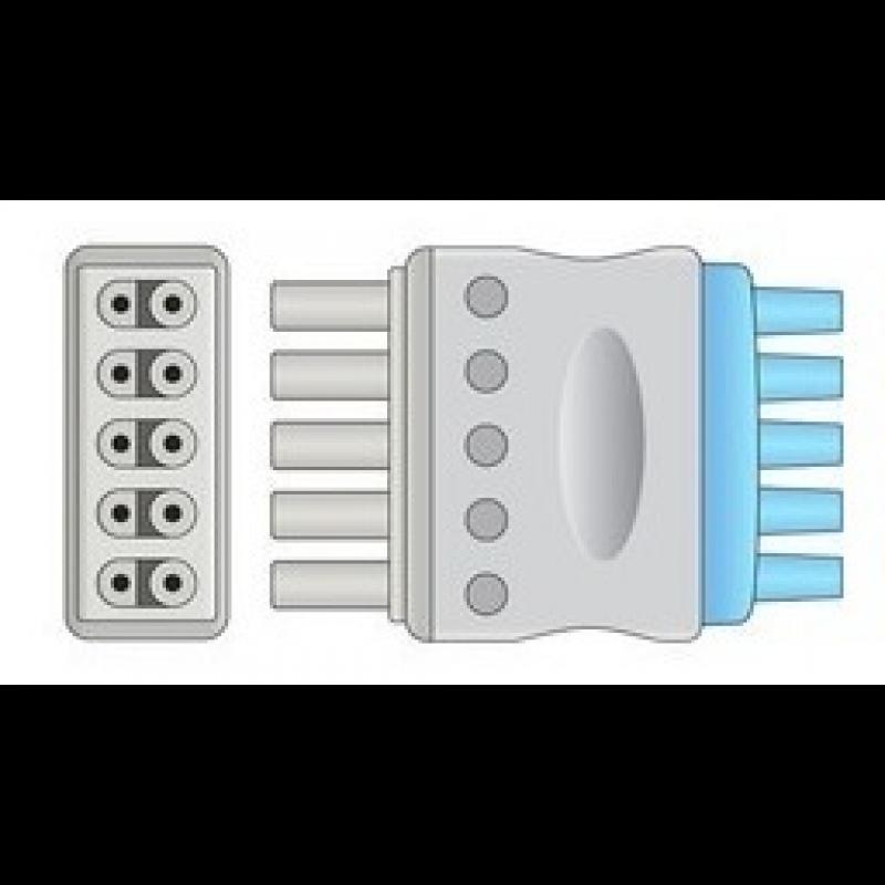 Conjunto Rabicho ECG 5 vias Compatível com Drager
