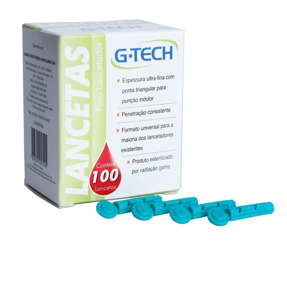 Lanceta para Lancetador G-Tech 28G Caixa com 100un.