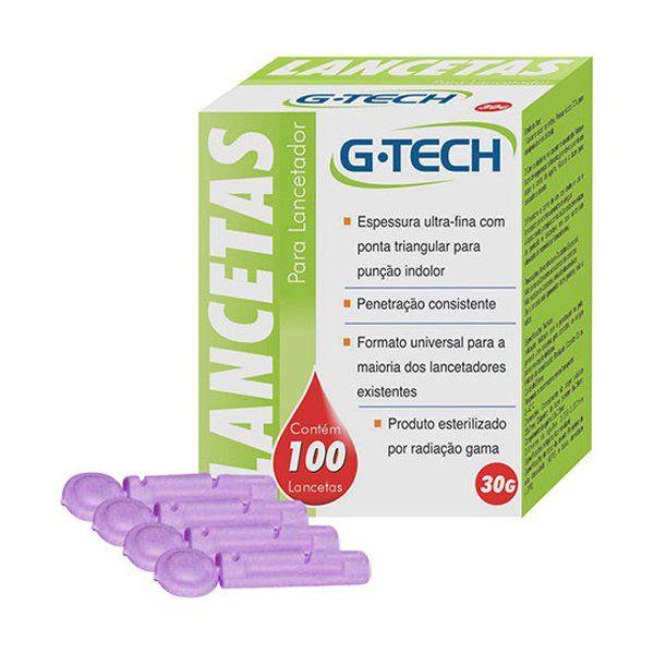 Lanceta para Lancetador G-Tech 30G Caixa com 100un.