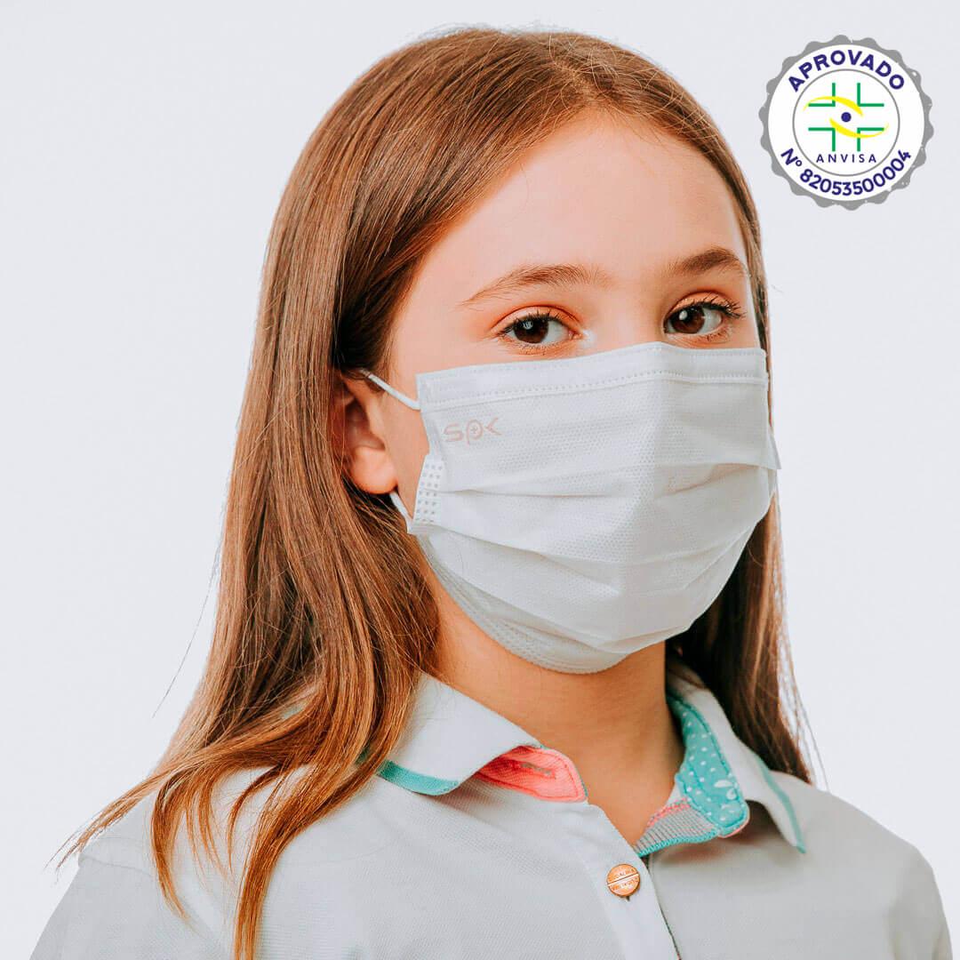 Máscara Cirúrgica Descartável Branca Infantil -  SP Protection