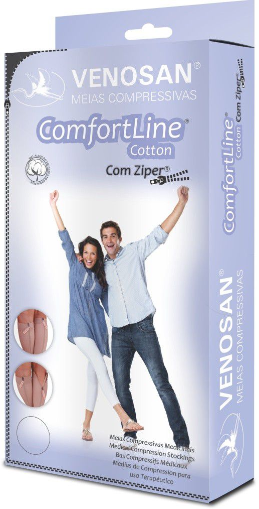 Meia Venosan Comfortline Cotton Com Ziper 20-30 3/4 Pe Aberto Bege