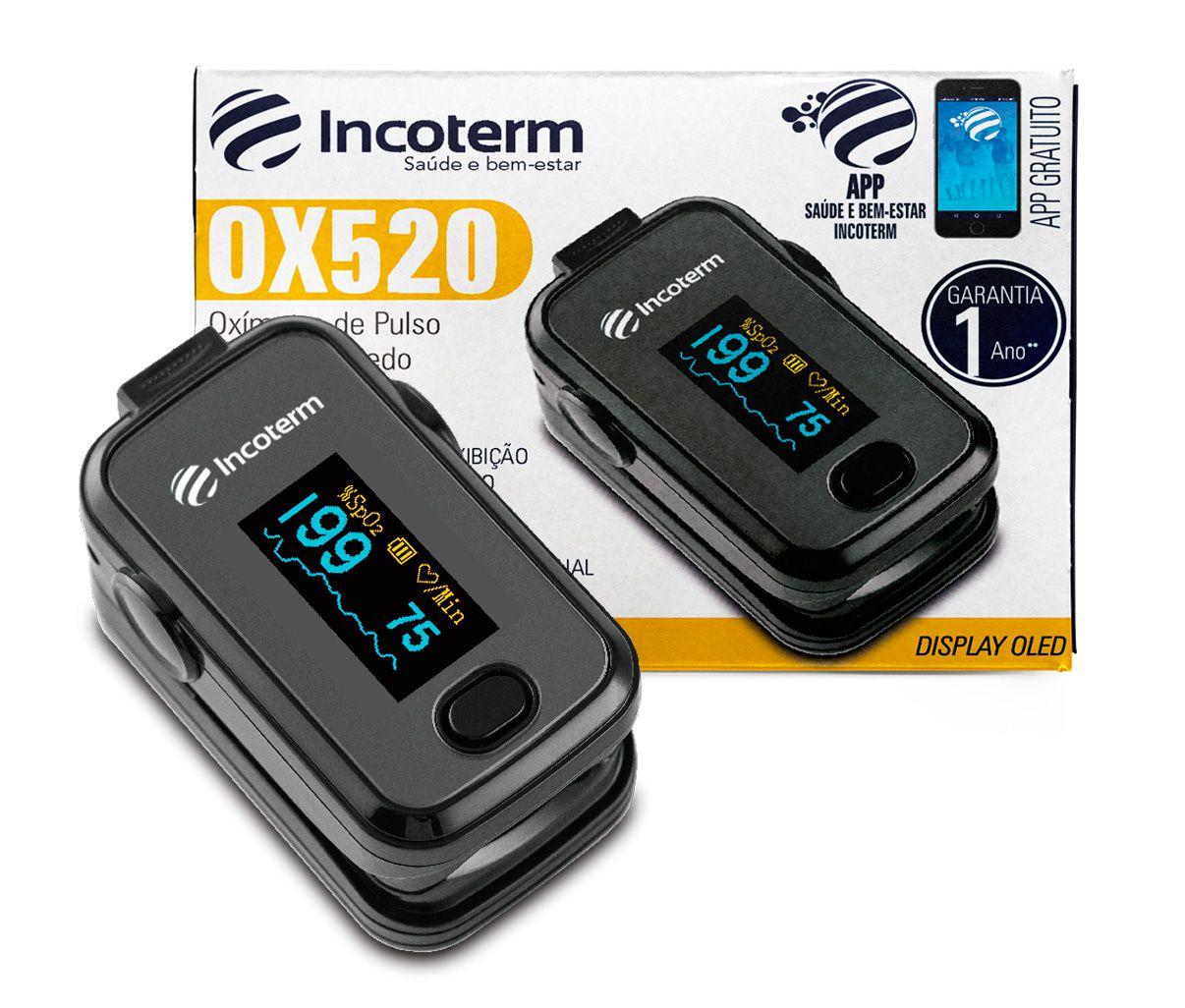 Oxímetro de Pulso Incoterm Monitor de Dedo OX520