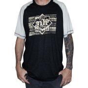Camiseta Raglan Masculina NH - Bege e Cinza