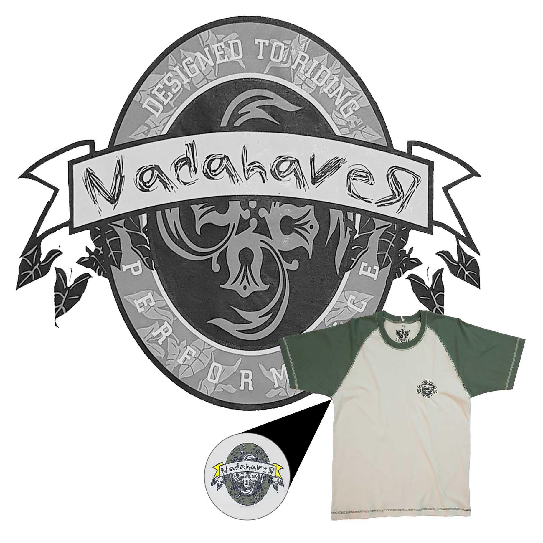 Camiseta Raglan Masculina NH - Mescla Bege e Verde