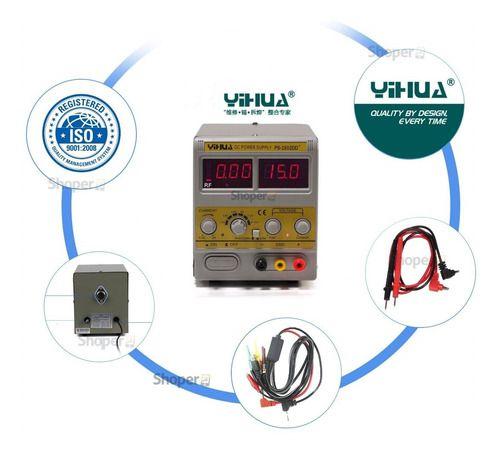 Fonte Assimetrica Ajustável 15V 2A  Yihua 1502DD+  C/ Bip Sonoro De Curto