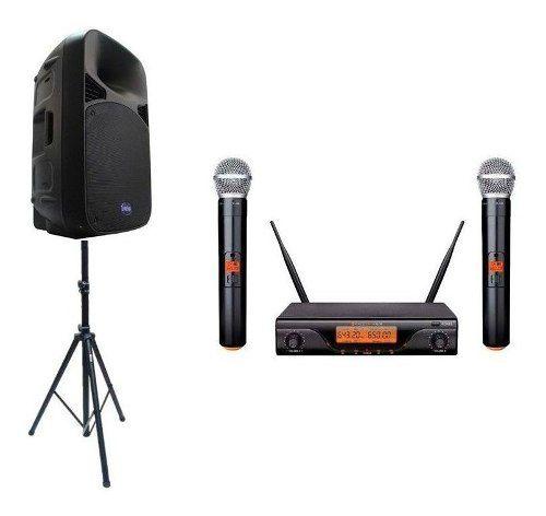 Kit Som Caixa Ativa 200w, Tripé Microfone S/fio Duplo Kadosh