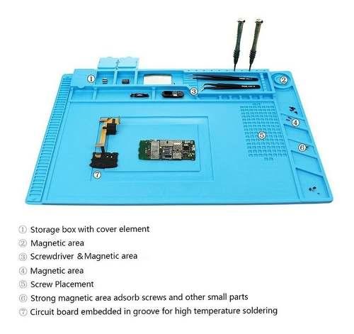 Manta ESD Magnetica De Silicone Resistente a Calor S-160 - 450X300mm Com Gabarito Organizador