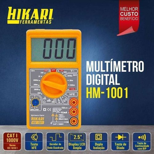 Multimetro Digital Hikari C/ Beep Sonoro Continuidade Cat I HM-1001
