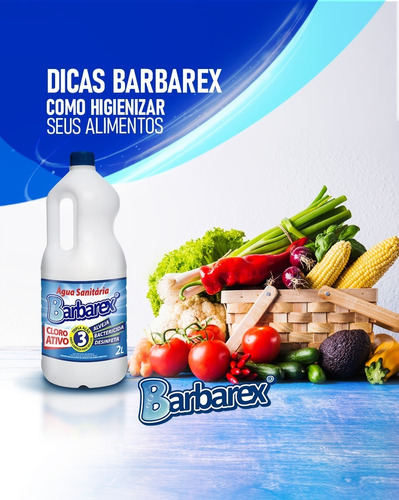 Água Sanitária Com Cloro Ativo Barbarex Tripla Ação 1 Litro