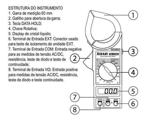Alicate Amperimetro Digital Hikari Ha3200 Profissional