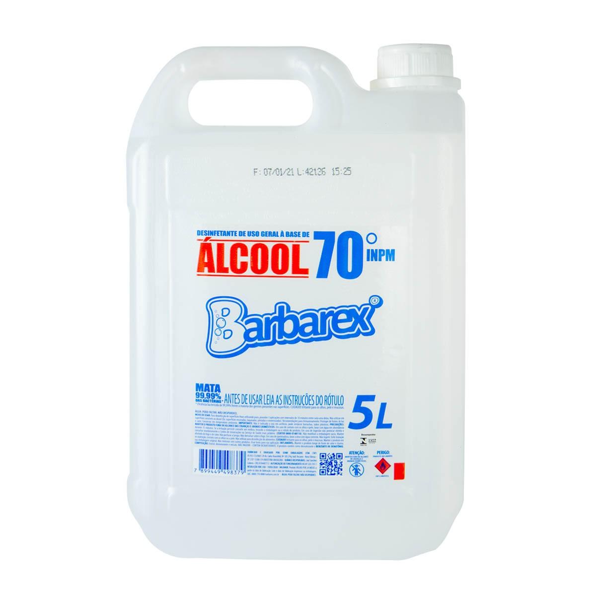 Desinfetante de Uso Geral a Base de Álcool Líquido 70 % INPM Barbarex 5 Litros