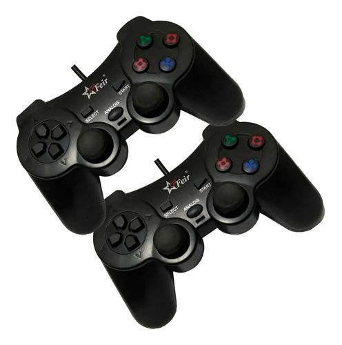 Kit 2 Controles Vibra Joystick Analógico Ps2 Usb P/ Game Box
