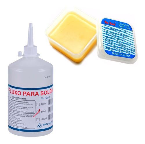 Kit 2 Fluxos De Solda Em Pasta Zj-18 Yaxun + Liquido 250ml Implastec Reflow Reball Smd Bga