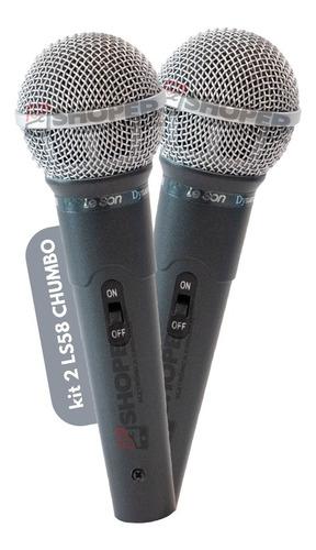 Kit 2 Microfone De Mão Le Son Ls 58 Ls58 Chumbo Com Cabo